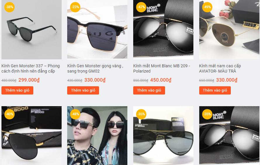Danh sách các loại kính mát trên Manluxury.vn